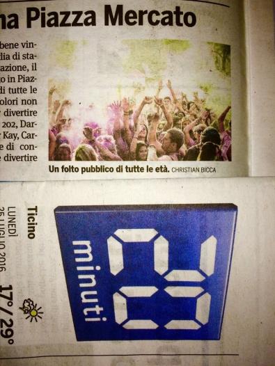 """20 minuti; Publication on the newspaper """"20 minuti"""", July 2016."""