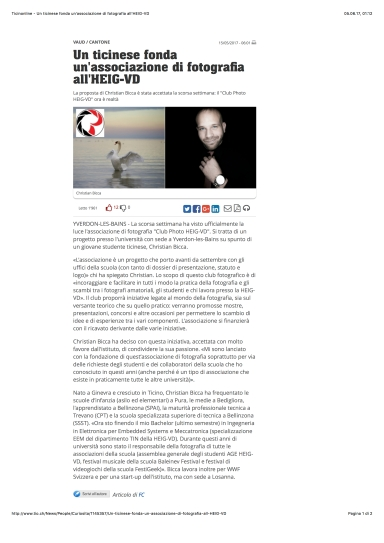 Ticinonline - Un ticinese fonda un'associazione di fotografia all'HEIG-VD
